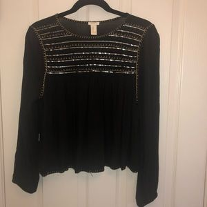 Black sequins long sleeve top